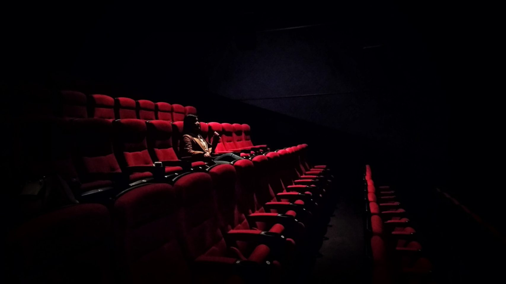 A person sits alone in a darkened theatre, the only person seated on red velvet chairs. there is nothing in the background.