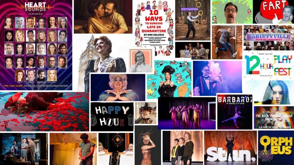 a collage of posters and performance images from the productions listed in the blog article.