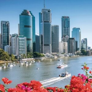 A picture of the brisbane skyline taken from the southbank of the brisbane river. The image is framed at the bottom with red blossoms and we can see ferries moving down the river in front of the skyscrapers.