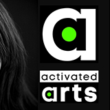 a stylised letter 'a' sits on a black background. Below it reads 'activated arts'