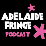 """A black square with pink hand-drawn asterisk style stars and text reading """"adelaide fringe podcast"""""""