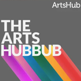 """A square icon with the ArtsHub logo featured in the top right, and the title """"The Arts Hubbub"""" above a rainbow design"""