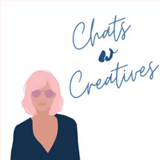 Text reading 'Chats w creatives' sits above the cartoon portrait of a woman with pink hair and pink sunglasses on.