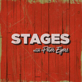 """Bold all caps text reads """"Stages"""". Under this is cursive text reading """"with Peter Eyers"""""""