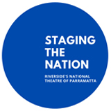 """A blue circle sits in a white square. Inside the circle is text reading """"staging the nation"""""""