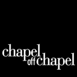 A plain black square. Over it the words Capel off Chapel are written in small caps in white.