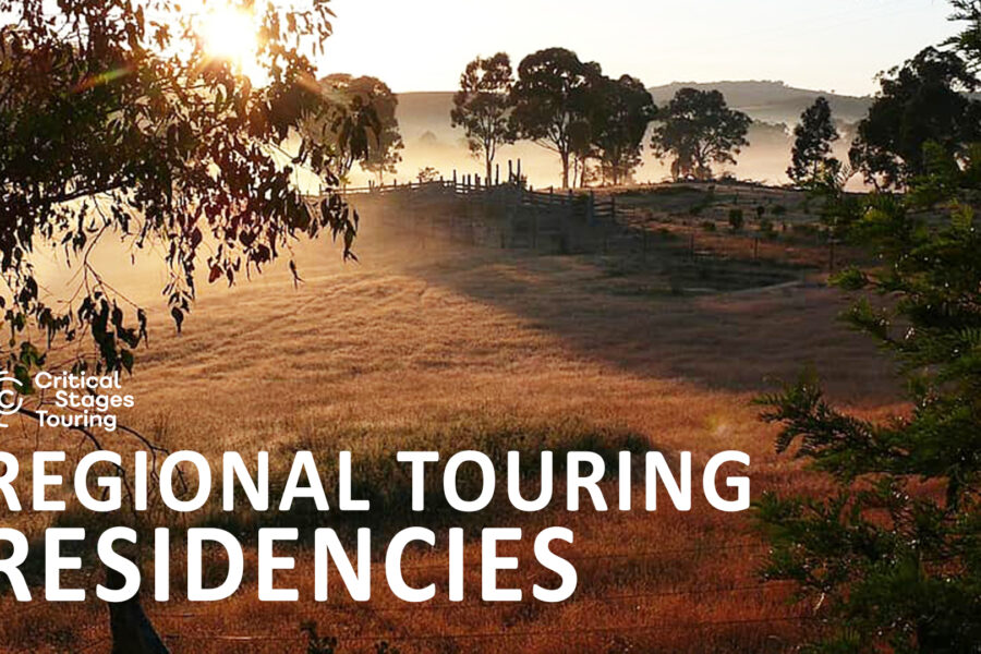 A landscape of grassplains, hills and trees is photographed at dawn. The words 'regional touring residencies' is superimposed over it.