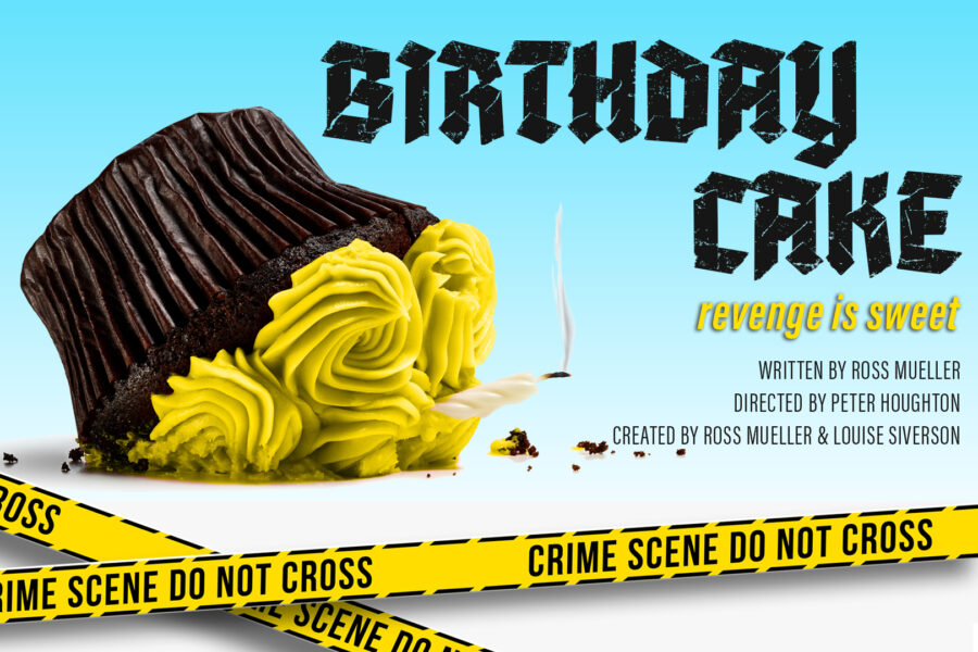 A cupcake with bright yellow frosting sits upside down, a half-burned candle snuffing out from below it. There is a little whisp of smoke. The Words BIRTHDAY CAKE sit to the right of the cake. Police tape readin Çrime Scene Do Not Cross, is stretched across the base of the image.
